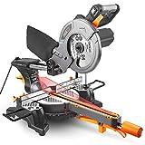 TACKLIFE Kapp Gehrungssäge mit Laser, 1500W 4500U, 210mm Sägeblatt, Schnittdaten: 300x65mm, Schnittwinkel 0-45°, beidseitig schwenkbarer Sägekopf: + 45 °/ -45 °,200mm Verlängerungsstange-PMS01X