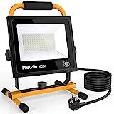 MustWin LED Baustrahler 60W Arbeitsleuchte 6000LM Arbeitsscheinwerfer Bauscheinwerfer mit Touch Dimmfunktion Steckdose...