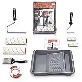 Pinto Deluxe ® Premium Farbroller Malerset Malerpinsel - Komplett Streichset mit XXL Farbwanne, Abdeckfolie,...