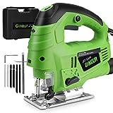 Stichsäge 800W, Ginour Elektro-Stichsägen mit Laserführung, 3000 SPM mit 7 variabler Geschwindigkeit, 6...
