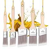 Emitever Streichpinsel-Set, 5-teilig, Holzgriff, Premium Wandpinsel-Set, Hausmalpinsel, Zierleistenpinsel,...
