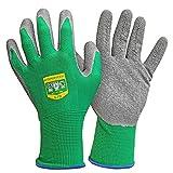 GRÜNTEK 5 Paar Gartenhandschuhe aus Polyesterfaser mit Latexbeschichtung, Gr. L/9, geeignet für den privaten und...