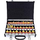 WiMas Fräser-Set, Oberfräsersatz, Hartmetall-bestückt, Fräsen Werkzeug Set 12,7mm Schaft, 35-TLG
