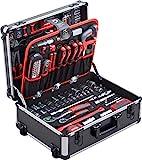 Meister Werkzeugtrolley 156-teilig - Werkzeug-Set - Mit Rollen - Teleskophandgriff / Profi Werkzeugkoffer befüllt /...