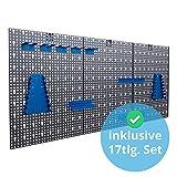 Panorama24 Dreiteilige Werkzeuglochwand Blau aus Metall mit 17tlg. Hakenset, ca. 120 x 60 x 1,5 cm