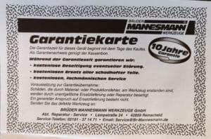 Garntiekarte Mannesmann
